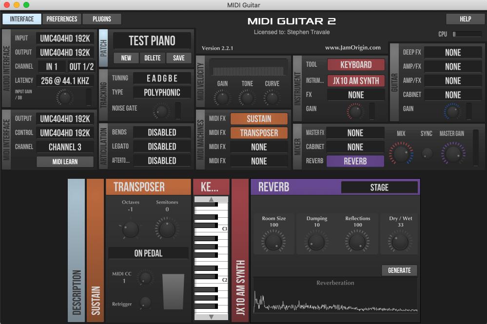 Interface Menu MIDI Guitar 2