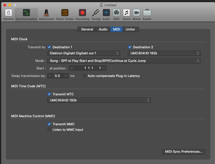 MIDI Settings Logic Pro X